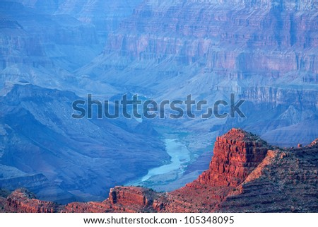 South Rim at sunset from Lipan Overlook, Grand Canyon National Park, Arizona, USA