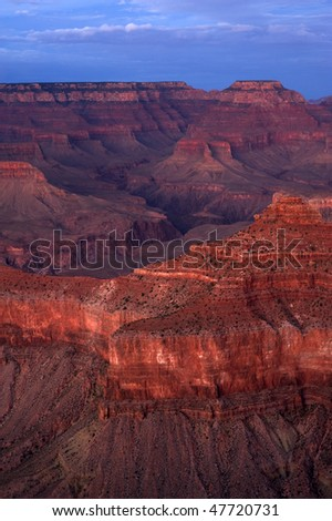 South Rim of Grand Canyon national park after sunset, Arizona