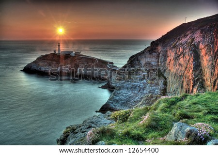 South Stack Lighthouse and island at sunset