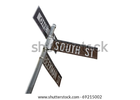 south street seaport sign post on white background