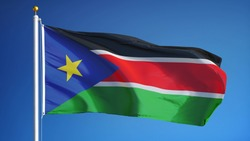 South Sudan flag waving against clean blue sky, close up, isolated with clipping path mask alpha channel transparency
