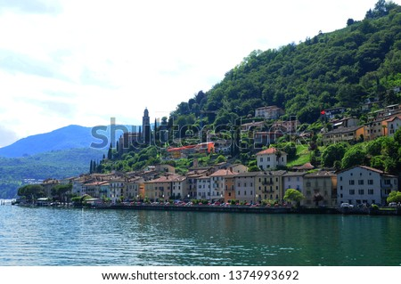 South Switzerland: Morcote at Lake Lugano in Ticino from the cruiseship seen.