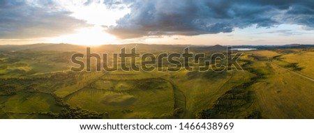 South ural mountains landscape aerial pano #1466438969