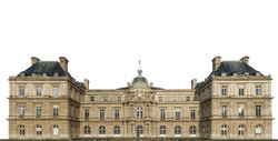 South view of Luxembourg Palace (Palais du Luxembourg) in Paris isolated on white background