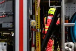South Wales Fire and Rescue service brigade. United Kingdom