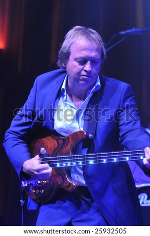 SOUTHAMPTON OCTOBER 17TH 2008 - Mark King, singer & bassist from British band Level 42 performing on stage as part of their UK tour on October 17th 2008 at Southampton Guildhall, England