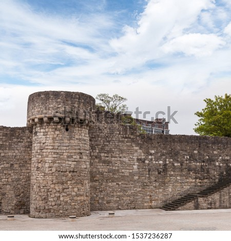 Southampton town walls, square photo. It is a sequence of defensive structures built around the town in southern England #1537236287