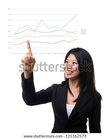 Southeast Asian business woman hand pointing business chart over white background - stock photo