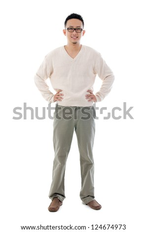 Southeast Asian Chinese man. Front view of Asian male isolated on white background.