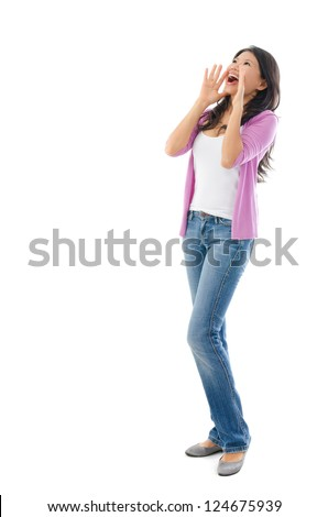 Southeast Asian Chinese woman shouting, full body standing on white background - stock photo