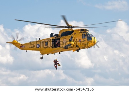SOUTHEND ENGLAND - MAY 30:  RAF Sea King Rescue holicopter in air show at Southend on the Sea on May 30, 2010 England