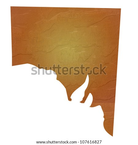 Southern Australia map with brown rock or stone texture, isolated on white background with clipping path.