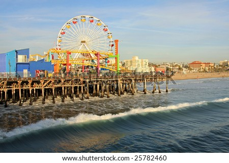 Southern California and the amusement pier at Santa Monica Beach