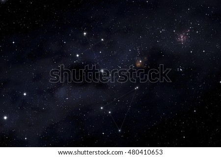 Southern cross and Musca constellations in the Milky Way background #480410653