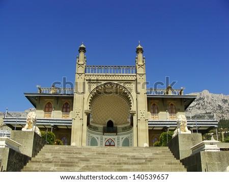 Southern facade of Vorontsov palace, Alupka, Crimea, Ukraine