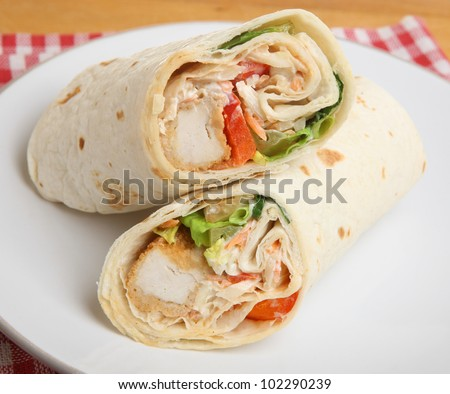 Southern fried chicken wrap sandwich