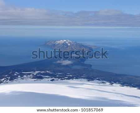 Southern part of  Jan Mayen island from slope of volcano Beerenberg