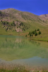 southern side of Saint Ann Lake in Queyras, in summer