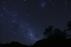 Southern sky Milky Way, Large and Small Magellanic Cloud nebulae and a satellite