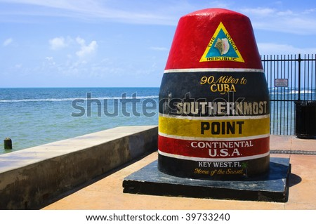 Southernmost point in continental USA in key west florida