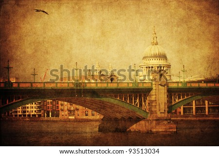 southwark bridge in Loncon in an antique looking picture