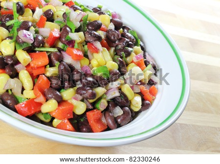 Southwest Black Bean Salad in a bowl sitting on a table.