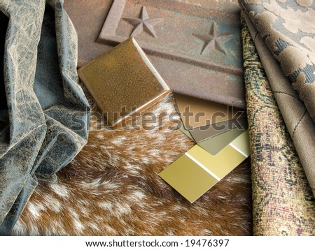 Southwestern interior design plan - a cowhide with aged leather sample, ceramic handcrafted tile, paint and fabric swatches. Rustic cast iron panel as a decorative accent.