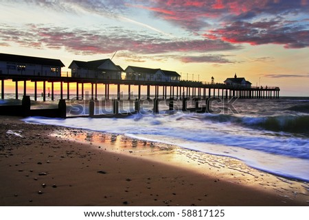 Southwold beach and pier at sunrise