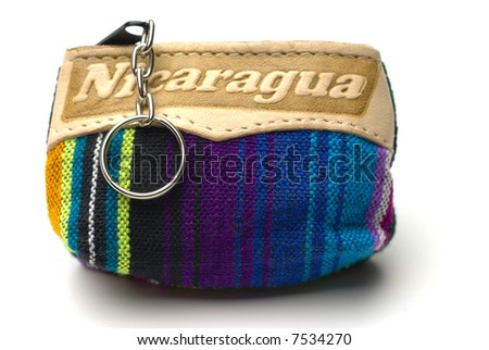 souvenir change purse knitted nicaragua central america - stock photo