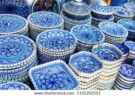 Souvenir earthenware in tunisian market, Sidi Bou Said, Tunisia.