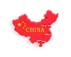 Souvenir (magnet) from China isolated on white background. Design element with clipping path