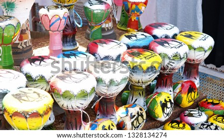 Souvenir of traditional drums of Tunisia, Republic of Tunisia, North Africa #1328134274