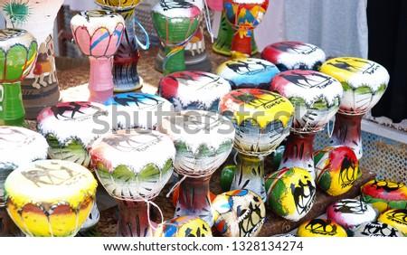 Souvenir of traditional drums of Tunisia, Republic of Tunisia, North Africa #1328134274