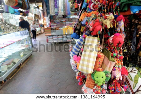 Souvenir shop at old market at Siem Reap, Cambodia.  #1381164995