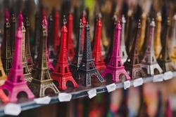 souvenir shop in Paris, small Eiffel towers for sale