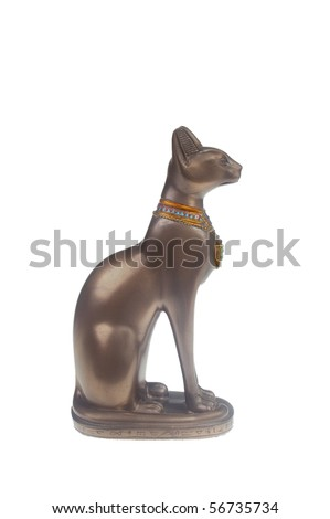 Souvenir statue of the Egyptian god  Bastet cat isolated