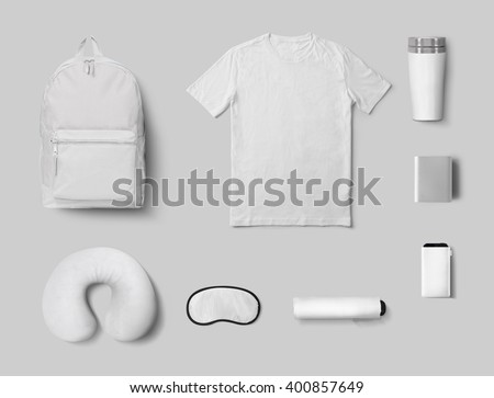 Shutterstock Souvenirs set mock up 3D illustration