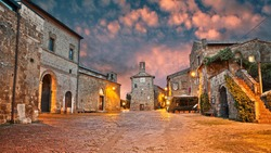 Sovana, Grosseto, Tuscany, Italy: ancient square in the old town of the medieval village founded in Etruscan times