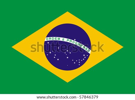 Sovereign state flag of country of Brazil in official colors. - stock photo