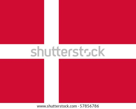 Sovereign state flag of country of Denmark in official colors.