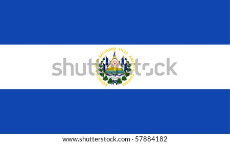 Sovereign state flag of country of El Salvador in official colors.