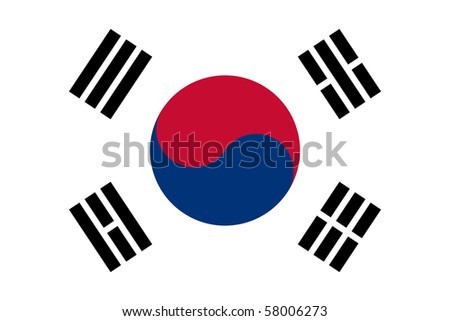 Sovereign state flag of country of South Korea in official colors.