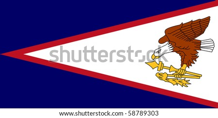 Sovereign state flag of dependent country of American Samoa in official colors.
