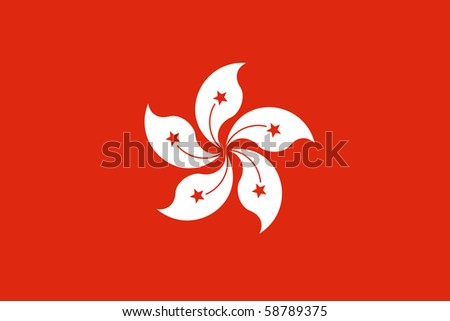 Sovereign state flag of dependent country of Hong Kong in official colors.