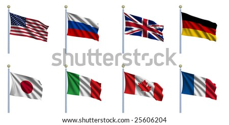 Sovereign-state flags of the G8 countries waving in the wind