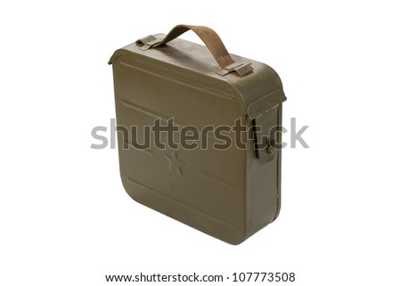 soviet ammo case on white background
