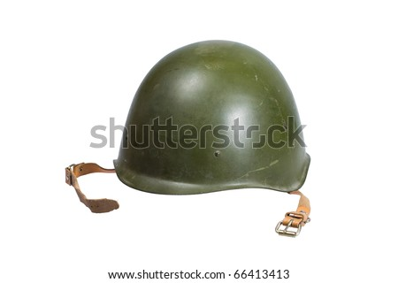 Soviet army Helmet Second World War isolated on white