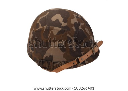 Soviet army helmet  with camouflaged cover  isolated on white