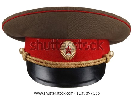Soviet Army officer cap isolated