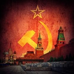 Soviet communistic background. Moscow Kremlin on USSR flag. Retro style.